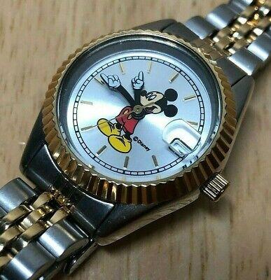Vintage Disney Mickey By SII Seiko Lady Fluted Bezel Quartz Watch Hours~New Batt