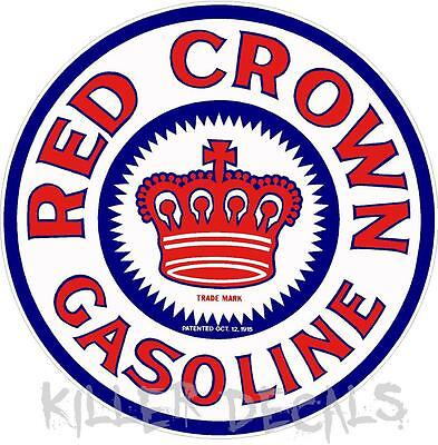 """(REDC-2) 12"""" RED CROWN GAS PUMP OIL TANK DECAL"""