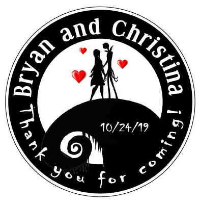 Favors For Weddings (NIGHTMARE BEFORE CHRISTMAS WEDDING FAVORS ROUND STICKERS LABELS FOR YOUR)