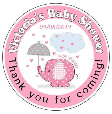 20 PINK ELEPHANT BABY SHOWER FAVORS STICKERS LABELS for lollipops, goody bags - Baby Shower Bags