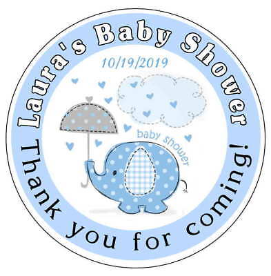 20 BLUE ELEPHANT BABY SHOWER FAVORS STICKERS LABELS for lollipops, goody bags