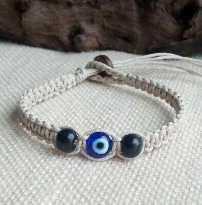 Glass Evil Eye Bead Natural Hemp Bracelet Men's Unisex Adjustable Pick Size  Bead Hemp Bracelet