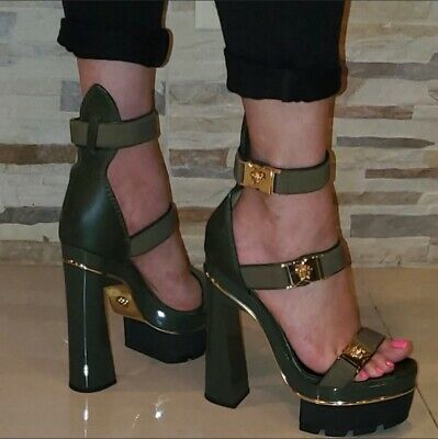 Versace Medusa Leather Platform Sandals