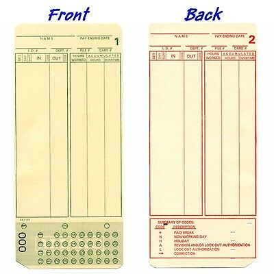1000 Ct. Amano Mjr7000 Mjr8000 Mjr8100 Time Clock Time Cards Numbered 000-099