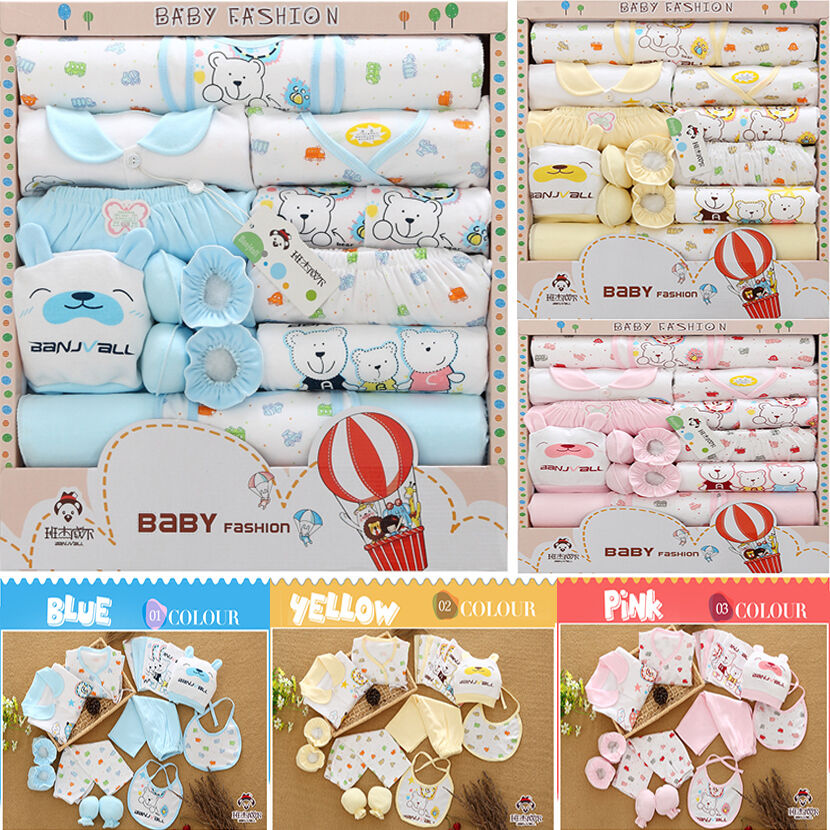 0-6M 18 pcs Baby Clothing Set 100% Cotton Newborn Infant Cut