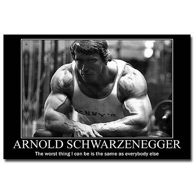 Arnold Schwarzenegger Bodybuilding Motivational Quotes Silk Poster 12X18 24X36