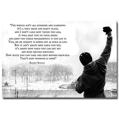 Rocky Balboa Poster Motivational Movie Quotes Art Silk Poster 13X20 24X36 Inches