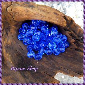 100-Perles-de-boheme-facette-6mm-Tcheque-coloris-saphir