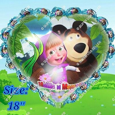 USA Masha and the Bear Foil Balloons Decor Shower Birthday Party Supplies lot MC - Balloons And Parties
