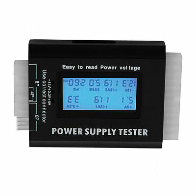 Digital LCD PC Computer PC Power Supply Tester 20/24 Pin SATA HDD Testers PAE