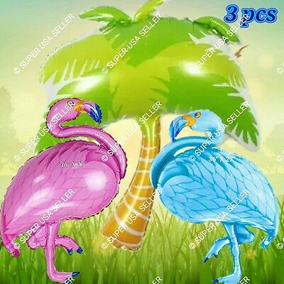 HUGE PALM TREE FLAMINGO LUAU Beach Decor Safari Animals Balloons Birthday Party