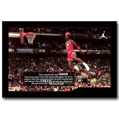 Michael Jordan Famous Foul Line Dunk Silk Poster Motivational Quote 13X20 24X36
