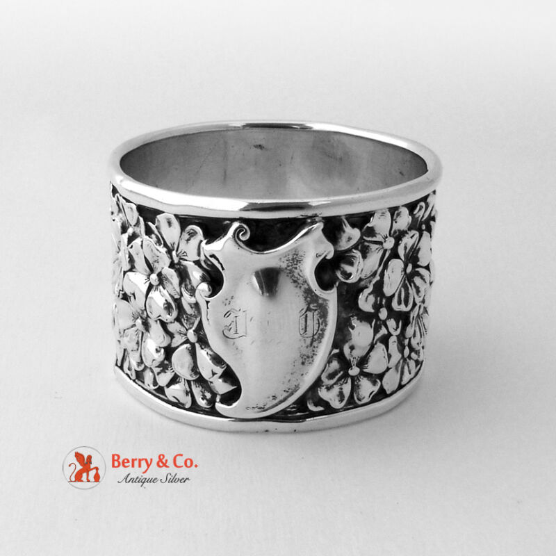 Unger Floral Repousse Napkin Ring Double Wall Sterling Silver 1900 No Monogram