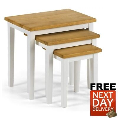 Julian Bowen Cleo Oak White Nest of Tables Solid Rubberwood - NEXT DAY Delivery