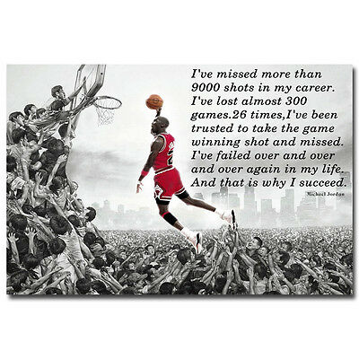 Why I Succeed   Michael Jordan Dunk Motivational Quote Art Silk Poster 13X20
