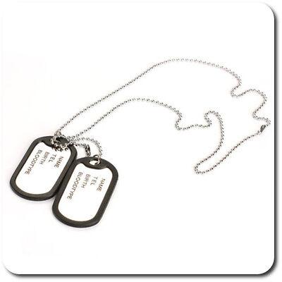 Dog Tag Hundemarke Halskette Kette 2 Anhänger Herren  Armee Army Edelstahl Name  Tag Hals