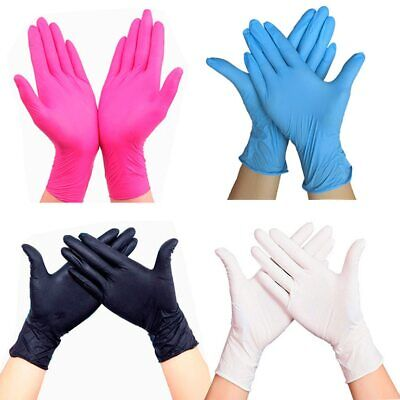 100 Disposable Rubber Nitrile Gloves Food Beverage Thicker Durable Pink Red Rose