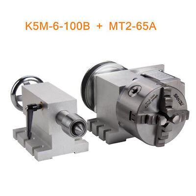 4th Axis Router Rotational A Axis 100mm 4 Jaw Chuck Mt2 65mm Tailstock Taper 2