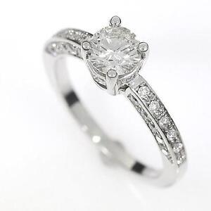 NEW 0.82 CARAT DIAMOND ENGAGEMENT RING IN 18K WHITE GOLD