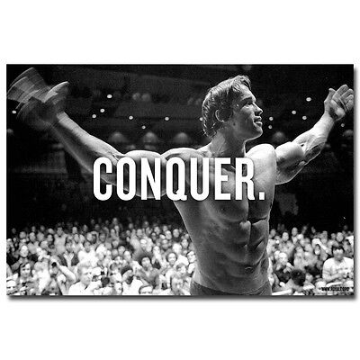 Conquer   Arnold Schwarzenegger Bodybuilding Motivational Quotes Silk Poster