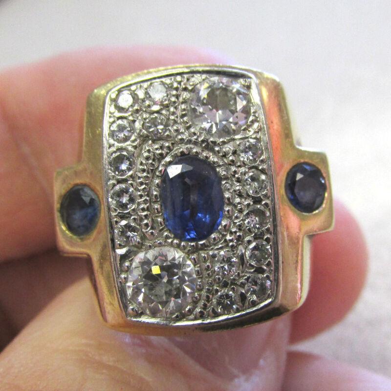 Gorgeous Large Diamonds & Blue Sapphire Estate Ring Unisex  Size 6.5 Make Offer