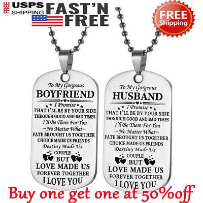 To My Boyfriend Husband Necklace Dog Tag Birthday Valentine's Day Xmas Gift ()