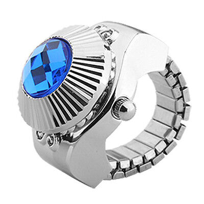 Blue Rhinestone Style Women's Fashion Finger Ring Watch LW