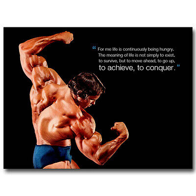 Conquer   Arnold Schwarzenegger Bodybuilding Motivational Quote Silk Poster