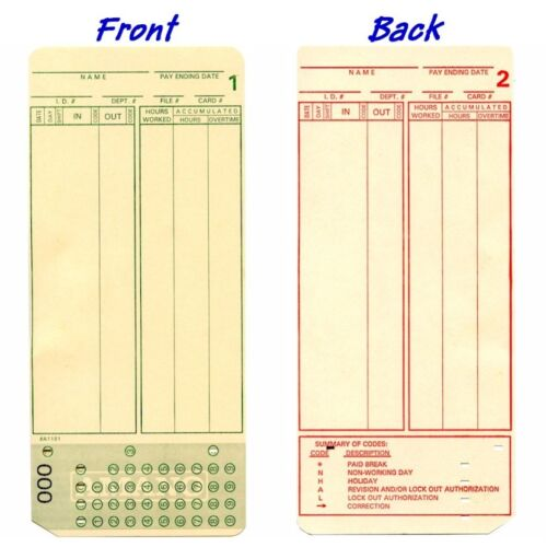 100 Count, Form A1181 Amano MJR7000, MJR8000 Time Cards, Numbered 000-099