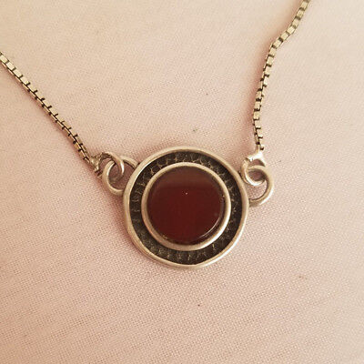 Sterling Silver Circle Pendant Necklace Red Glass Modernist Delicate Textured Glass Textured Sterling Silver Necklace