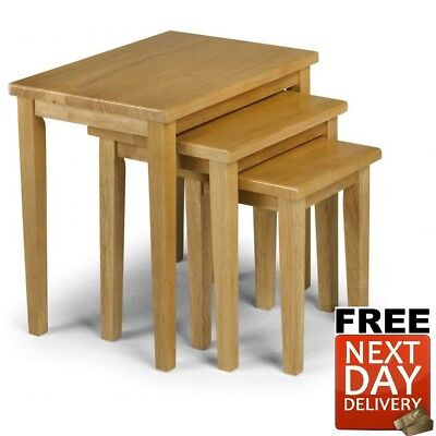 New Julian Bowen Cleo Oak Nest of Tables Solid Rubberwood - NEXT DAY Delivery