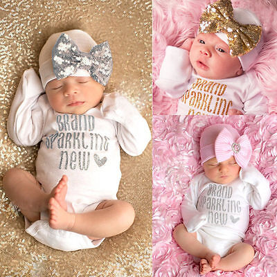 US Stock Sequins Newborn Baby Girls Bodysuit Romper Jumpsuit Hat Outfit Clothes