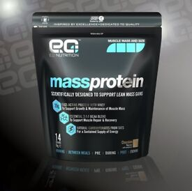 2 packs Unopened NEW EQ Nutrition Mass Protein Chocolate flavour 1KG (protein with WHEY)