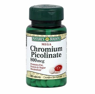 Nature's Bounty Chromium Picolinate 800 mcg Tablets Mega 50 Tablets