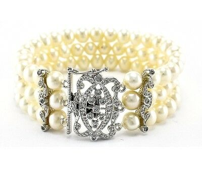 Bridal Clasp Bracelet - PAVE TRIPLE ROW  PEARL CUBIC ZIRCONIA FANCY CLASP BANGLE BRACELET- BRIDAL