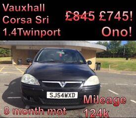 Vauxhall Corsa SRI 1.4 8 month 124k miles 54plate