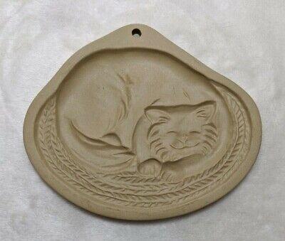 Brown Bag Cookie Art Mold Cat Curled Up on Rug Hill Design 1988 Vintage 6x5