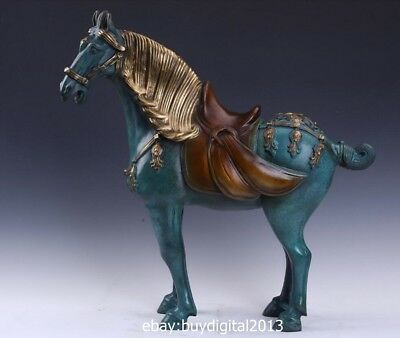 53CM Chinese zodiac Art Deco Pure Bronze Painted War Horse Fine Equine Sculpture