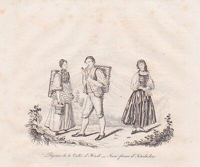 Costumes Trachten Haslital Interlaken STAHLSTICH von 1835 Suisse Schweiz