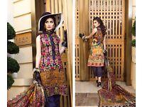 New Farah Talib Aziz Inspired 3pcs Stitched Cotton Suit with Digital Silk Dupatta L,XL Sizes