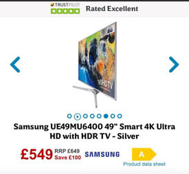 """Samsung TV Brand New 49"""" 4K with guarantee RRP £649"""