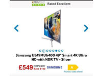 "Samsung TV Brand New 49"" 4K with guarantee RRP £649"