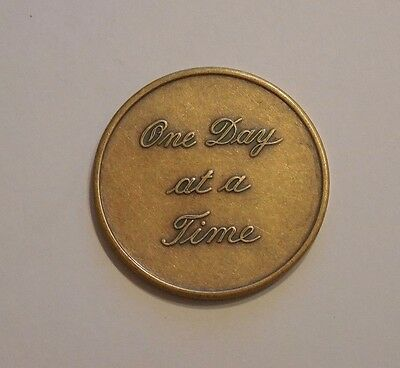 Used, AA One Day At A Time Script alcoholics anonymous Sobriety Chip Token Medallion for sale  Shipping to Canada
