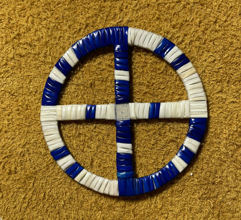One Beautifully Colored Lakota Sioux Quilled Medicine Wheel Quilled On Rawhide