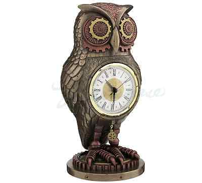 Steampunk Owl Clock Sculpture Statue Figurine - WE SHIP WORLDWIDE - HOME DECOR