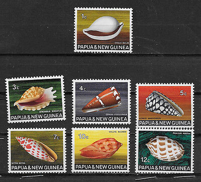 PAPUA & NEW GUINEA , 1968/69 , CLAMS , SET OF 7  STAMPS ,  PERF, MNH