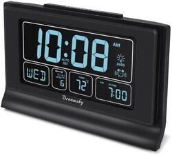 DreamSky Auto Set Digital Alarm Clock with USB Charging Port, 6.6 Inch Large Scr