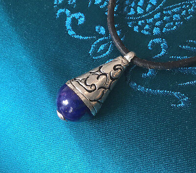 Small Tibetan Wooden Protection-Charm with Lapis Lazuli + Silver from Nepal
