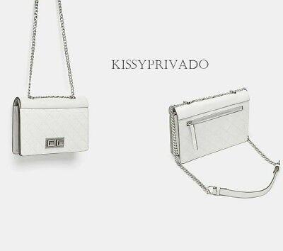 3a7223503c ZARA White Quilted LEATHER Medium Crossbody Bag Silver Chain Strap BNWT