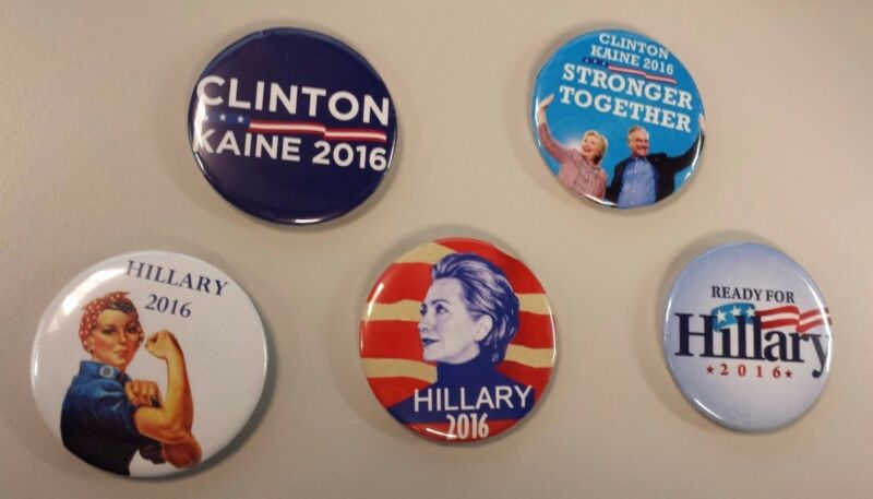 Hillary Clinton & Tim Kaine 2016 - Button/Pin (set of 5 pins)